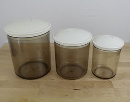 Lot of 3 FOODSAVER VACUUM SNAIL CONTAINER CANISTER 80 50 25 oz Tinted/Smoke - $49.49