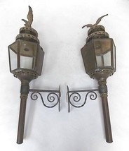 PR OF FRENCH ? ANTIQUE BRASS OUTDOOR WALL SCONC... - $1,500.00