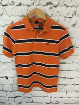 Nautica Boys Sz L 14-16 Shirt Orange Striped Short Sleeve Polo - $10.74