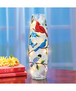Bird Garden Crackled Glass Hurricane Lamp - Spring Decorative Accent fo... - $24.99