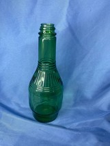 Vintage Emerald Green Ribbed Neck Prune Juice Glass Bottle 8 Inch Tall - $14.99