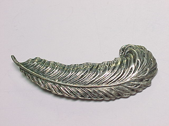 Primary image for BEAU STERLING Vintage Textured FEATHER QUILL BROOCH Pin - 2 inches