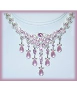 Lavender Pink Faux Cabochon Flower Cluster Necklace Earring Set New - $24.99