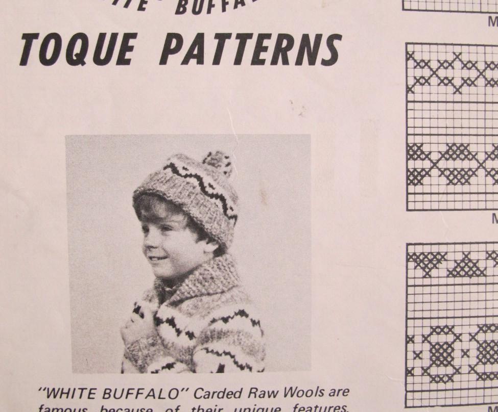 Vintage White Buffalo Knitting Patterns CHILDRENS Toques Child Sizes -  4.95 7cc782135a8