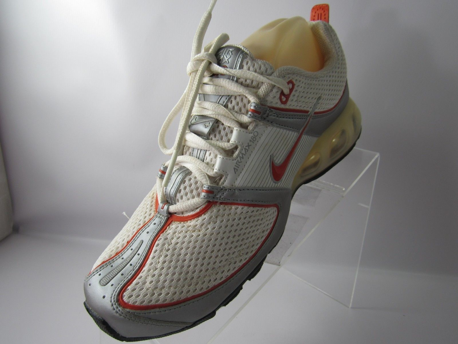 8a155235df1 ... NIKE AIR MAX 180 314017-181 Sz 8 M Orange White LACE UP RUNNING Shoes  ...