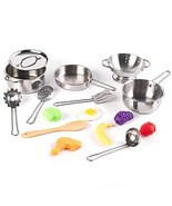 KIDAMI 16 Pieces Kitchen Pretend Toys, Stainless Steel Pots & Pans Plays... - $20.57