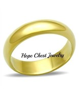 CLEARANCE UNISEX GOLD TONE CLASSIC 4mm ANNIVERSARY WEDDING BAND RING SZ ... - $6.50