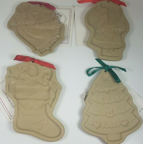 Primary image for Vintage Brown Bag Cookie Art Molds Angel Stocking Christmas Tree and Santa Claus