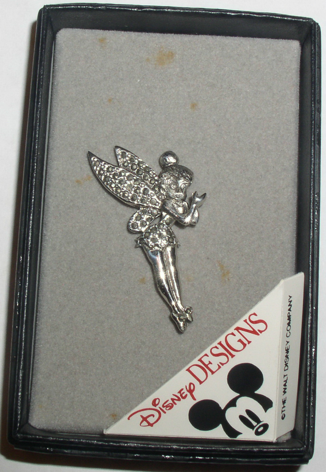 Disney Tinker Bell Sterling Silver marquisate Pin Brooch Tinkerbelle  Pin/Pins