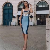 Women's High Quality Celebrity Style Brand Fashion Color Block Sexy Bodycon Part image 2