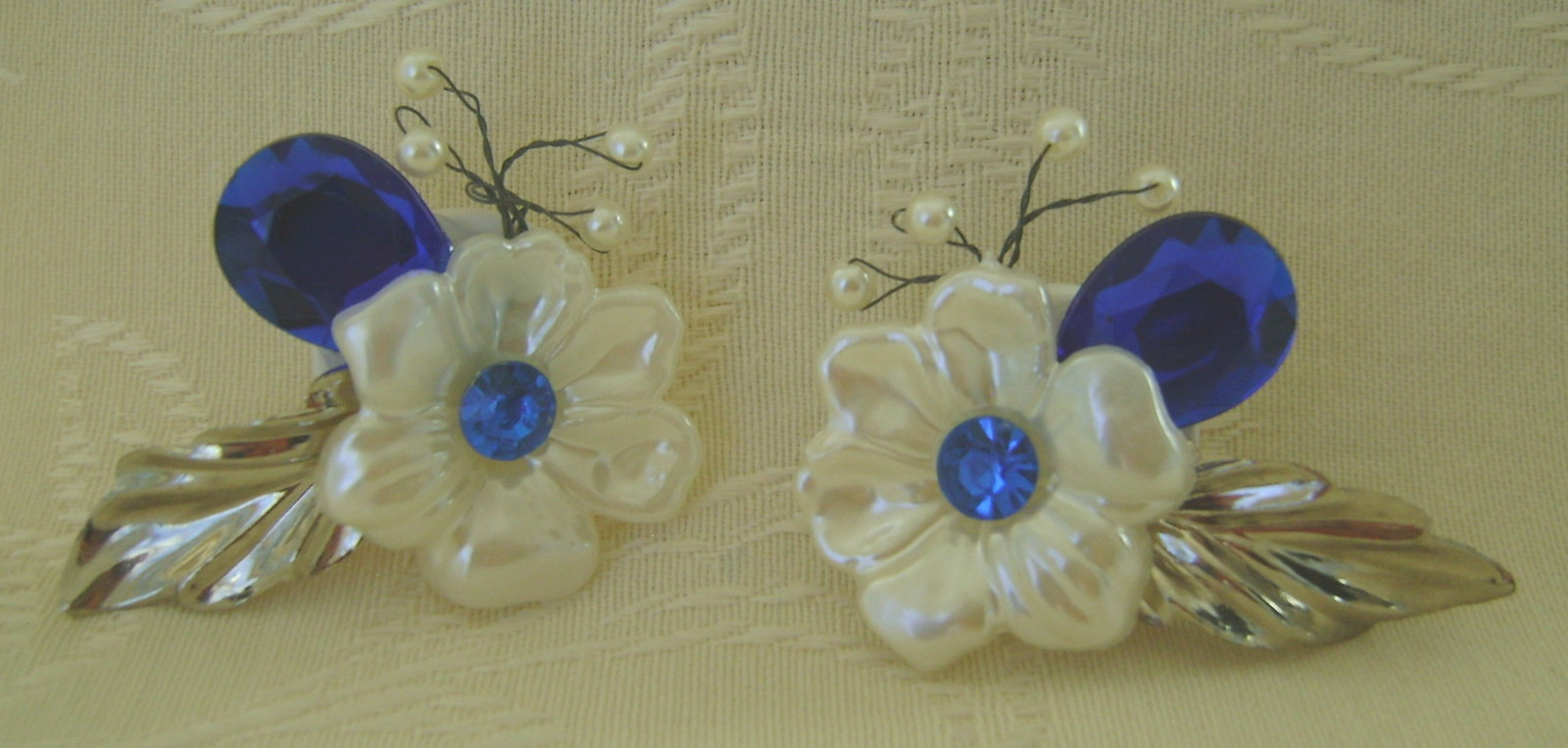 Primary image for Earrings,Clip Back, Elegant Blue Flower and Leaf