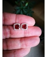 14K White Gold Finish Princess Cut Red Ruby & Sim Diamond Stud Earrings - $69.99