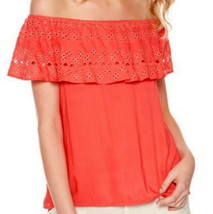 Sanctuary Embroidered Off the Shoulder Top XLarge 14 16 Pink Eyelet Ruff... - €31,12 EUR