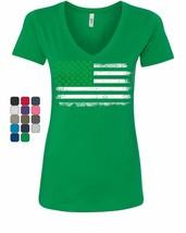 Shamrock American Flag Women's V-Neck T-Shirt Stars and Stripes St. Patr... - $15.75+