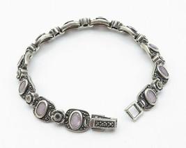THAILAND 925 Silver - Vintage Amethyst & Marcasite Flower Chain Bracelet... - $108.10