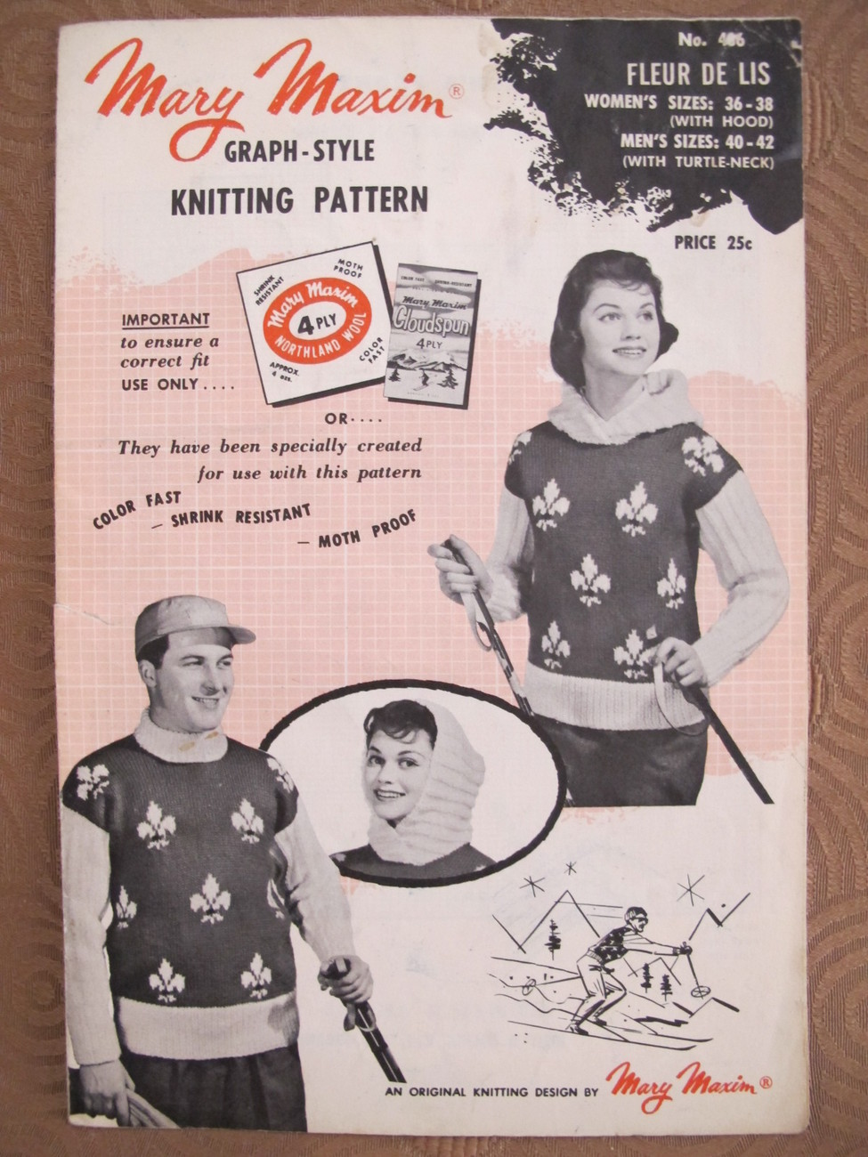 Vintage Mary Maxim Knitting Patterns ADULTS Pullover Sweater with Hood  - $6.95