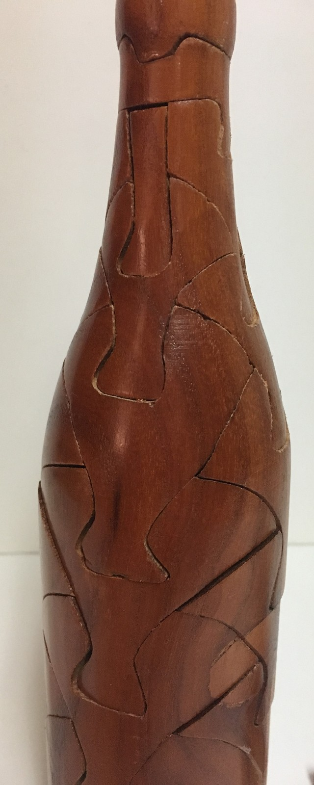 """Wine Bottle Wood Puzzle 10""""H w/Holder Server Novelty Collectible"""