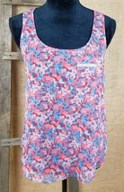 Topshop women size 2 tank top sheer front zipped pocket floral - $17.77