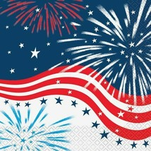 Fireworks July 4th 16 Ct Lunch Napkins Memorial Veterans Day - $3.65