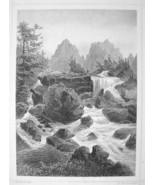 SLOVAKIA Studeny Potok Waterfall High Tatras - 1870s Original Engraving ... - $30.22