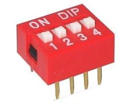 DIP kodier INTERRUTTORE VERTICALE 7:62 mm pitch 4 POSIZIONE 8 pin Rosso - $3.55