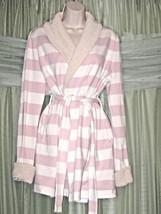 VICTORIA'S SECRET The Love Sherpa-Trim Light Pink White Stripe Robe Sz S... - ₨1,356.29 INR