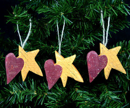 Set of 3 Country Wooden Heart and Star Christmas Ornament - $9.98