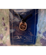 Lead Free PEWTER Sports Pendant SWIMMING Necklace Souvenir Canada SWIM S... - $14.95