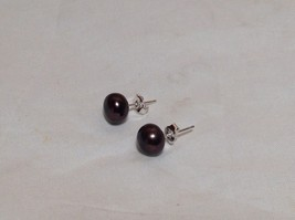 Black Pearl Stud Earrings Silver Post