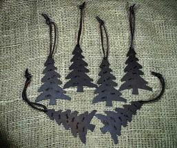 Set of 6 Country Lodge Rusty Brown Metal Christmas Tree Ornaments  - $18.98