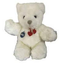 "Vintage Gund Collectors Classic White Bear with Red Heart Collar 13"" 1983  - $18.79"