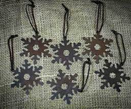 Set of 6 Country Lodge Rusty Brown Snowflake Christmas Tree Ornaments  - $18.98
