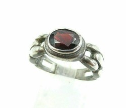 925 Sterling Silver - Vintage Garnet Brick Layer Style Band Ring Sz 7.5 ... - $27.23
