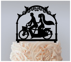 Wedding,Cake topper,Cupcake topper,silhouette wedding couple bicycle : 11 pcs - $20.00