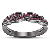 Round Pink Sapphire 14k Black Gold Plated 925 Silver Women's Twisted Band Ring - $85.99