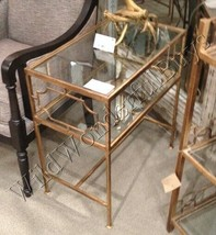 Geometric Side Table Antique Gold Glass Top Iron Accent Neiman Marcus New - $261.80