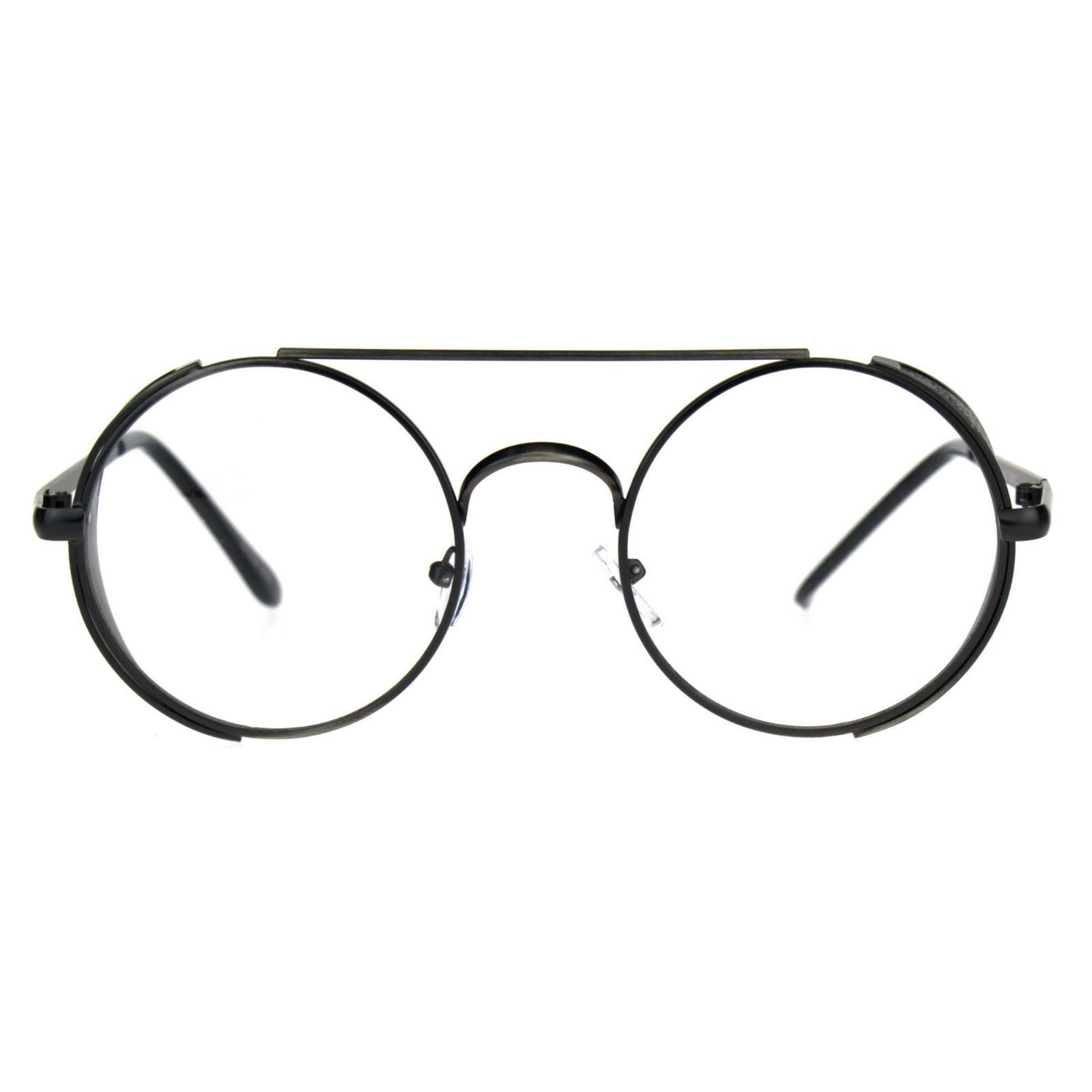Steampunk Side Cover Clear Lens Glasses Round Metal Flat Top Bridge UV 400