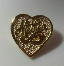 Vintage Signed Gerry's Gold-tone Heart Mother Brooch W/Red Rhinestone  - $10.88