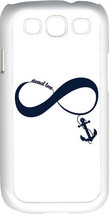 White & Navy Blue Infinity Symbol with Anchor Samsung Galaxy S3 Case Cover - $13.95