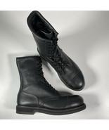 Addison Military Boots Black Leather Cap Toe Steel Toe Sz 11 R EUC - $65.09