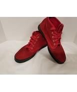 Classique Red Suede Leather Ladies Canvas Lace up Ankle Boots  Size 7 Pr... - $38.65