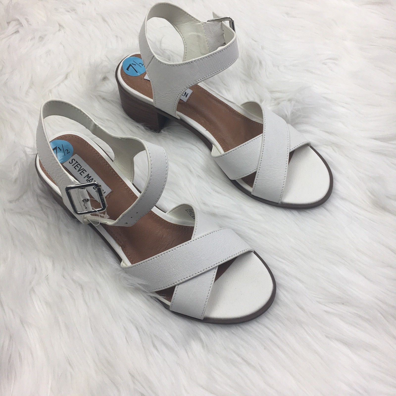 114dc2e6ab NEW Steve Madden White Leather Low Chunky and 50 similar items