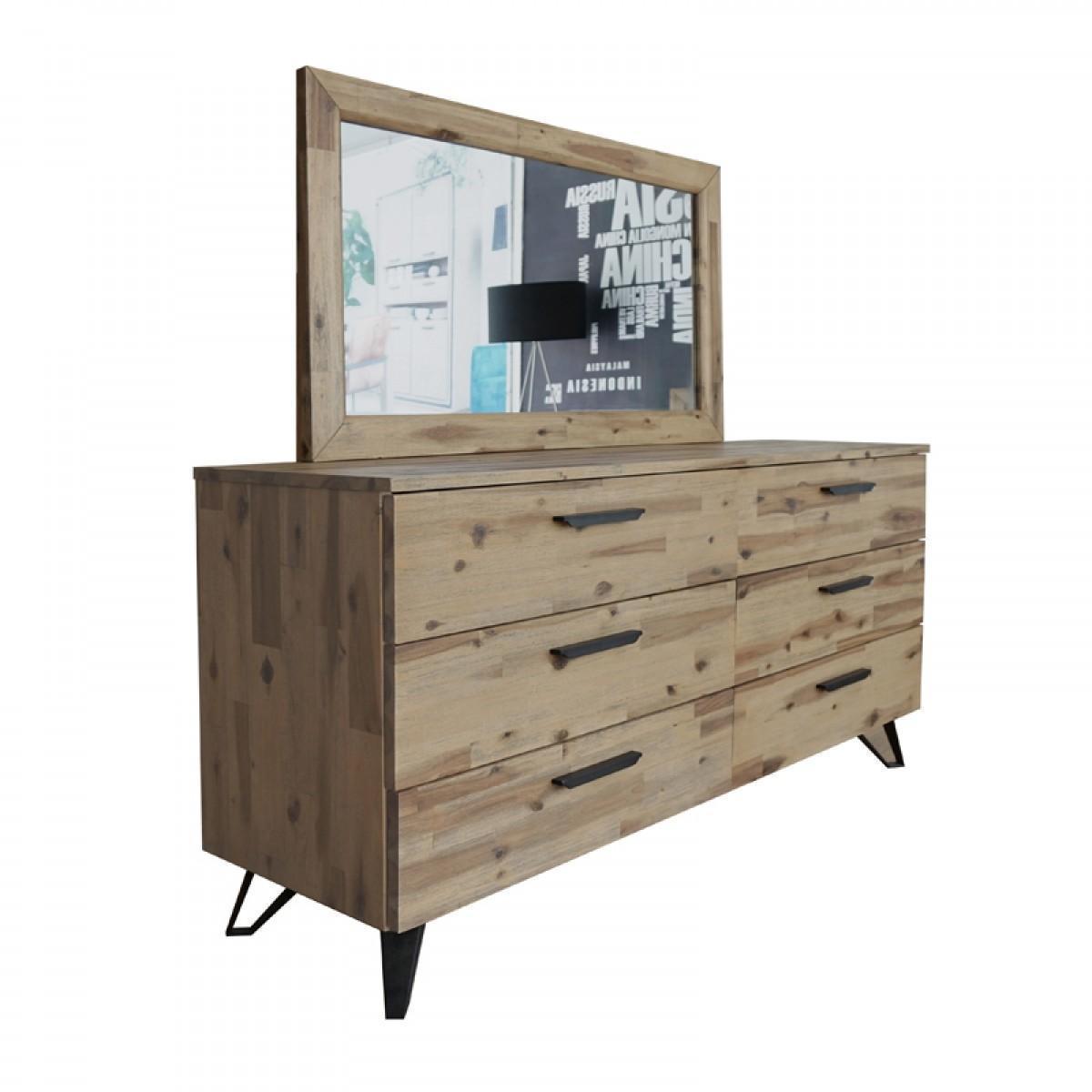 Vig Modrest Sala Modern Metal Brushed Light Wood Queen Size Bedroom Set 5pcs