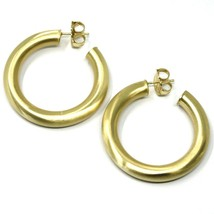 925 STERLING SILVER CIRCLE HOOPS BIG YELLOW EARRINGS, 4 cm x 6 mm SATIN FINISH image 2