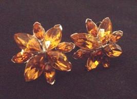 Vintage BOGOFF Screw-back EARRINGS~8 Dark Amber-colored Rhinestones~Both... - $26.73