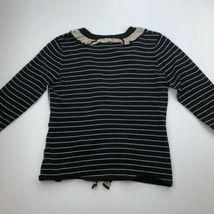 CAbi Cardigan Sweater Womens Small Black Stripe 3/4 Sleeve Ruffle Button B13-03P image 8