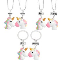 Super Cute Unicorn ! Pink Rainbow Beast with a horn Best friend necklace... - $9.65