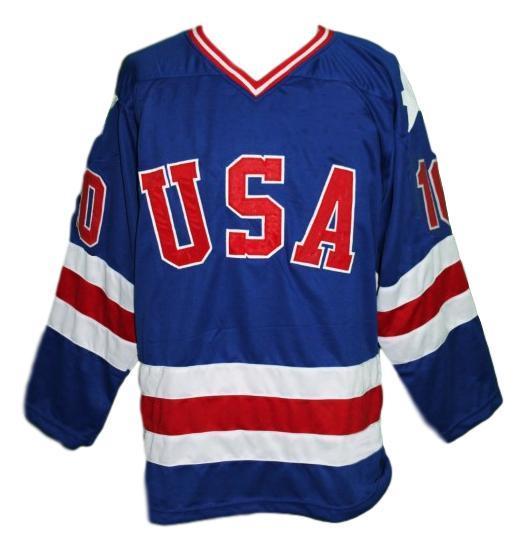 Mark johnson  10 team usa miracle on ice hockey jersey blue   1