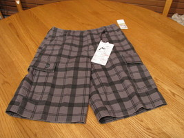 Boy's Rusty 24 agent cargo charcoal shorts plaid NEW youth - $13.35