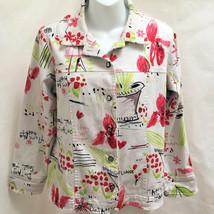 Susan Graver Sz S Jacket White Floral Jean Denim Botanical Red Green - $21.53